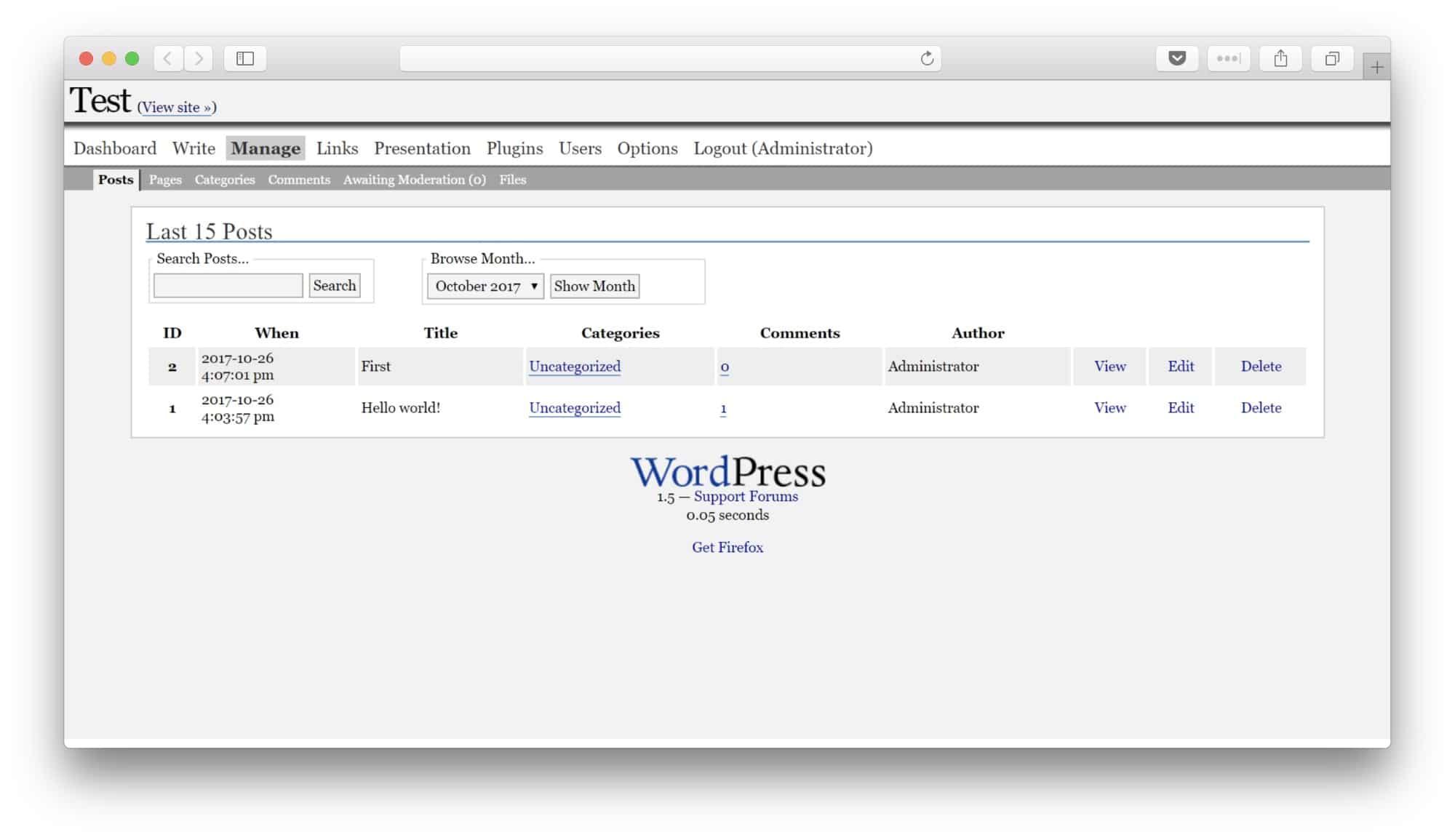 WordPress 1.5 edit