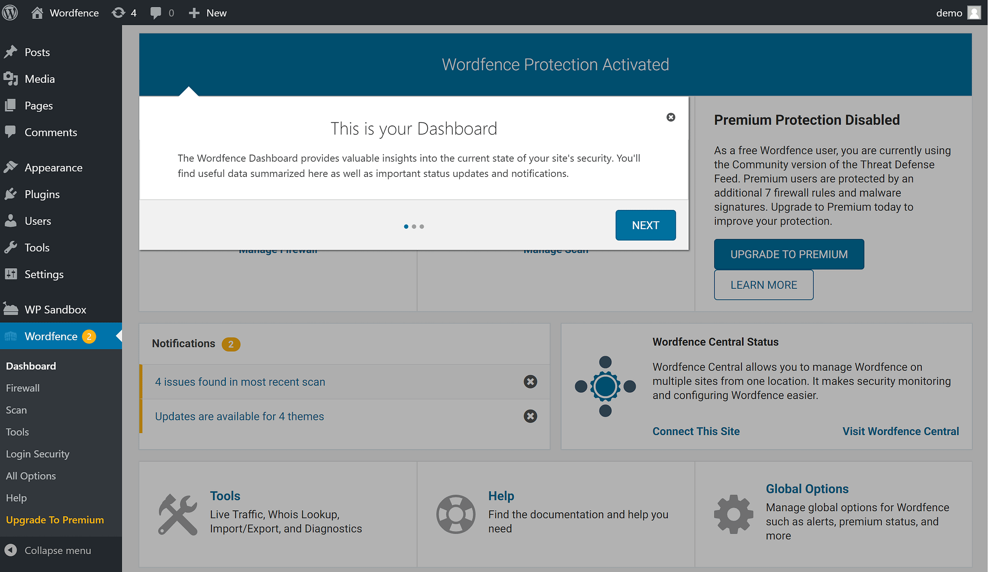 Wordfence Welcome wizard