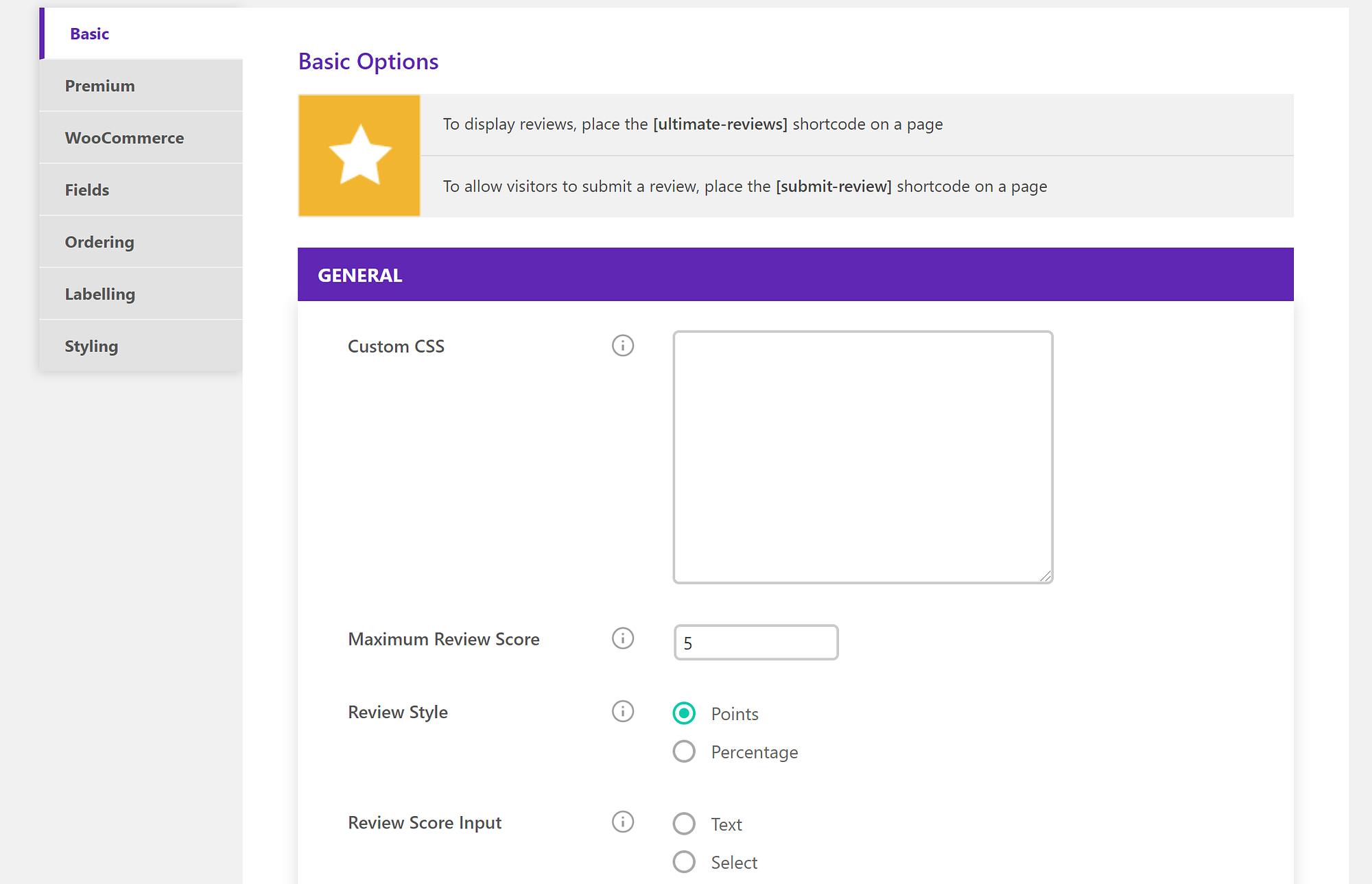 Ultimate Reviews settings