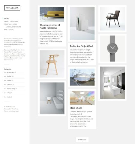 Fukasawa - one of the best looking free photography WordPress themes