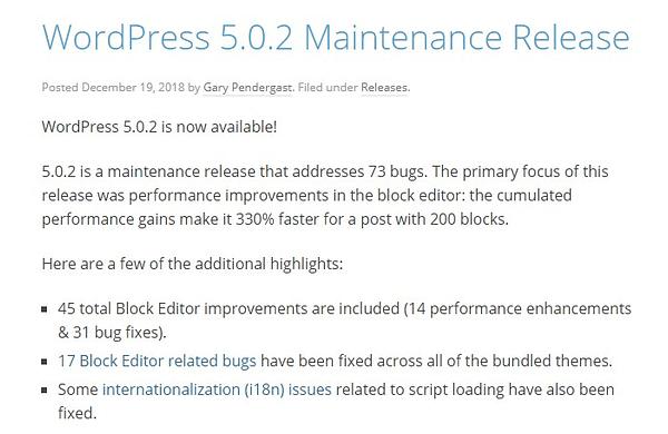 january 2019 wordpress news 5.0.2 maintenance release