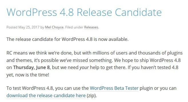 WordPress news May 2017: New WordPress RC