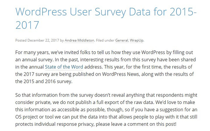 WordPress user survey