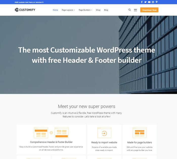 Best WordPress themes #5: customify
