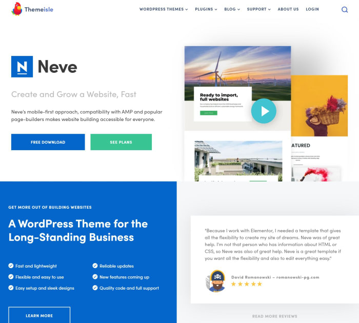 Neve Elementor templates