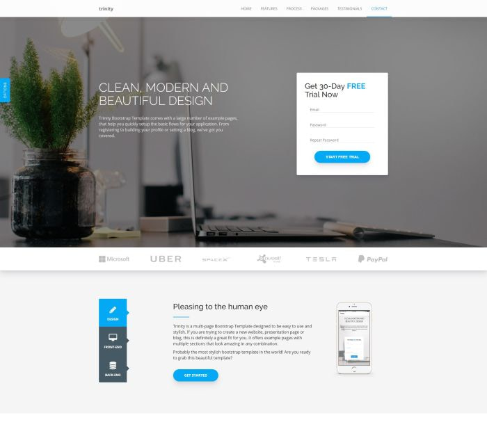 Best Bootstrap 4 templates: Trinity