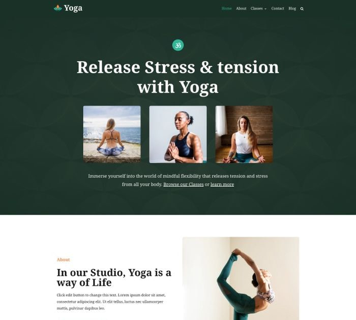 yoga WordPress themes #1: Neve