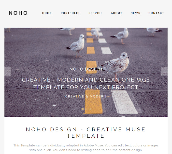 Best Adobe Muse Templates: NOHO