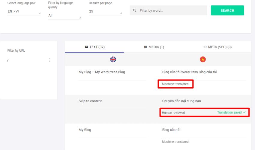 weglot translation interface