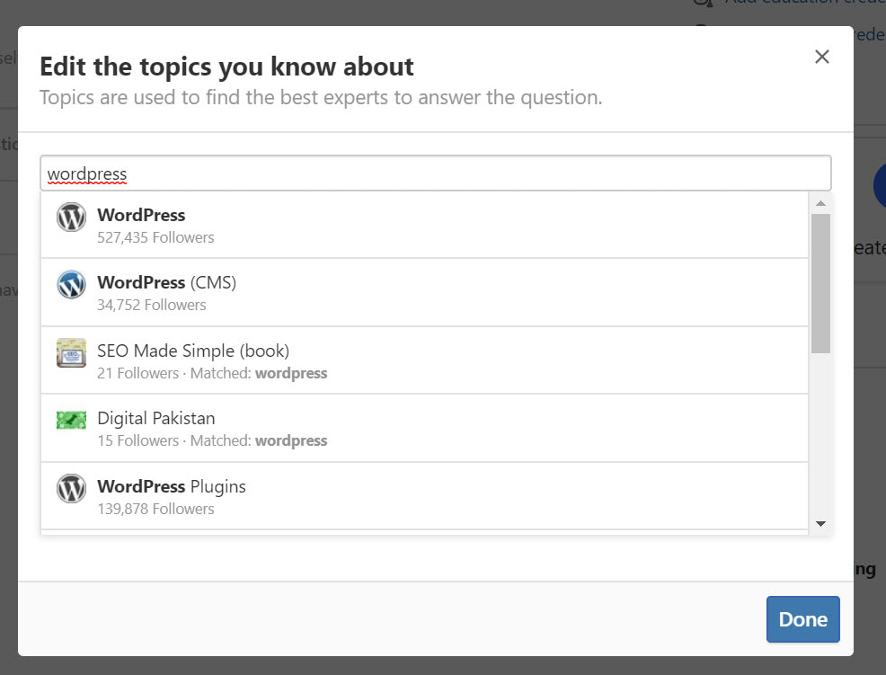 search topics like WordPress for Quora marketing