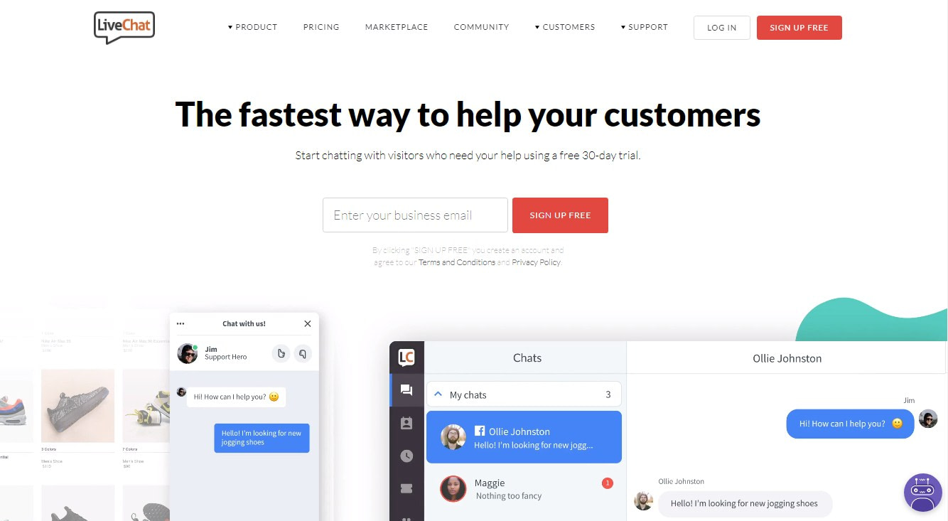 LiveChat landing page