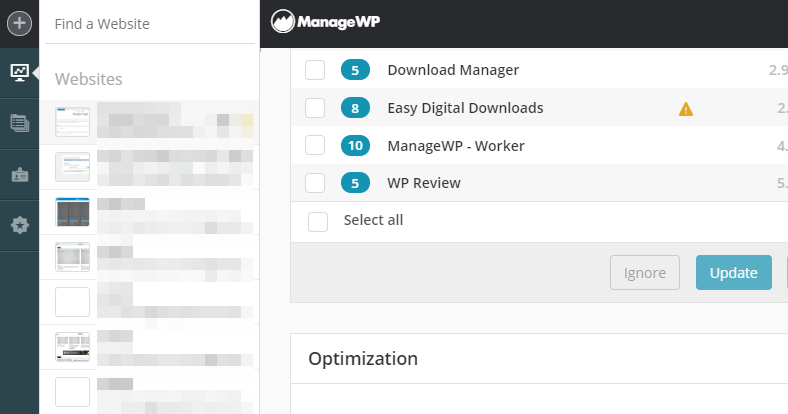 Managing multiple WordPress websites using ManageWP.