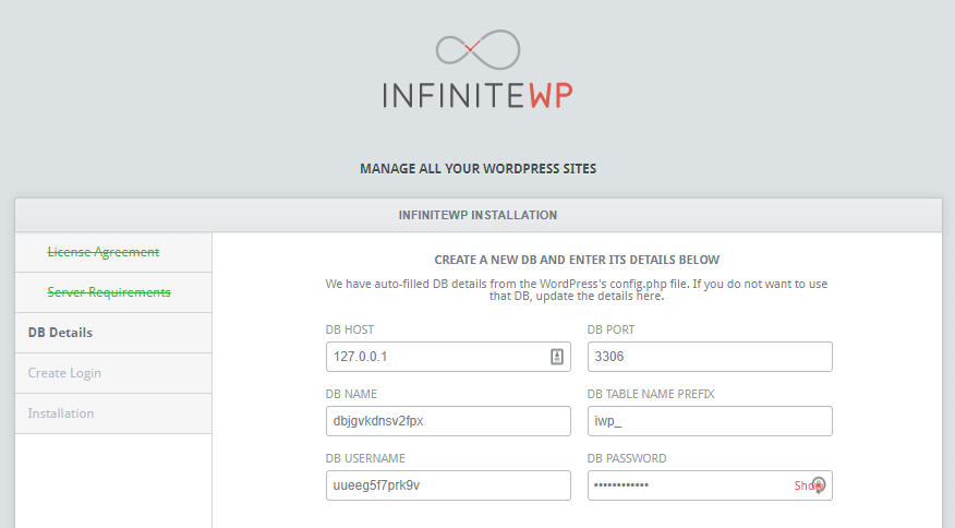 Creating a new database for InfiniteWP.