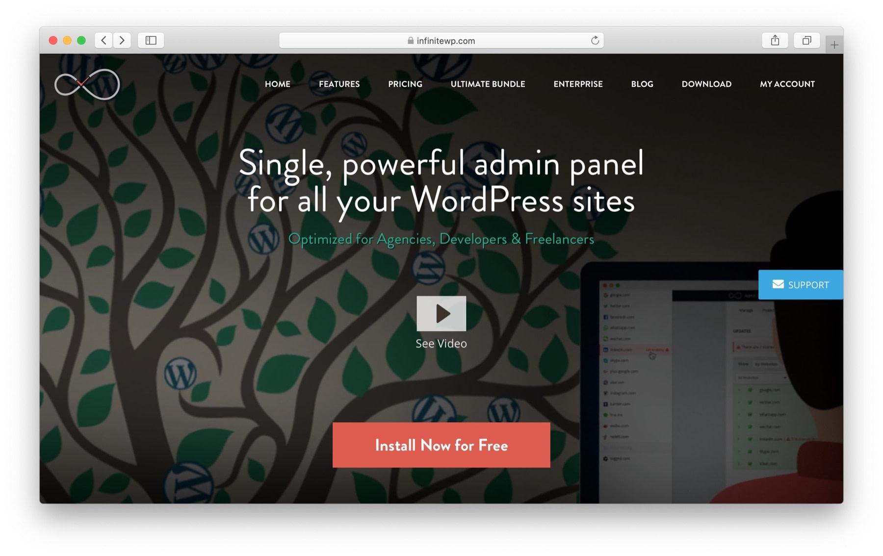 manage multiple WordPress websites: infinitewp