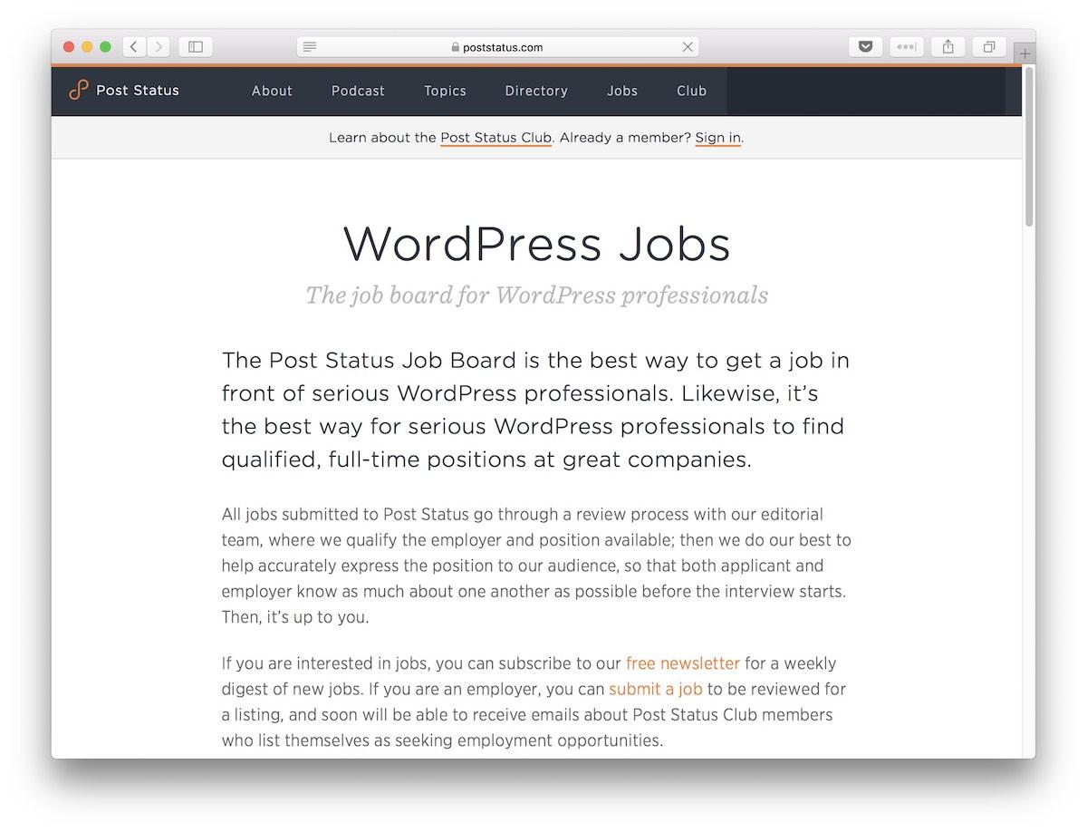 Post Status WordPress Jobs Board