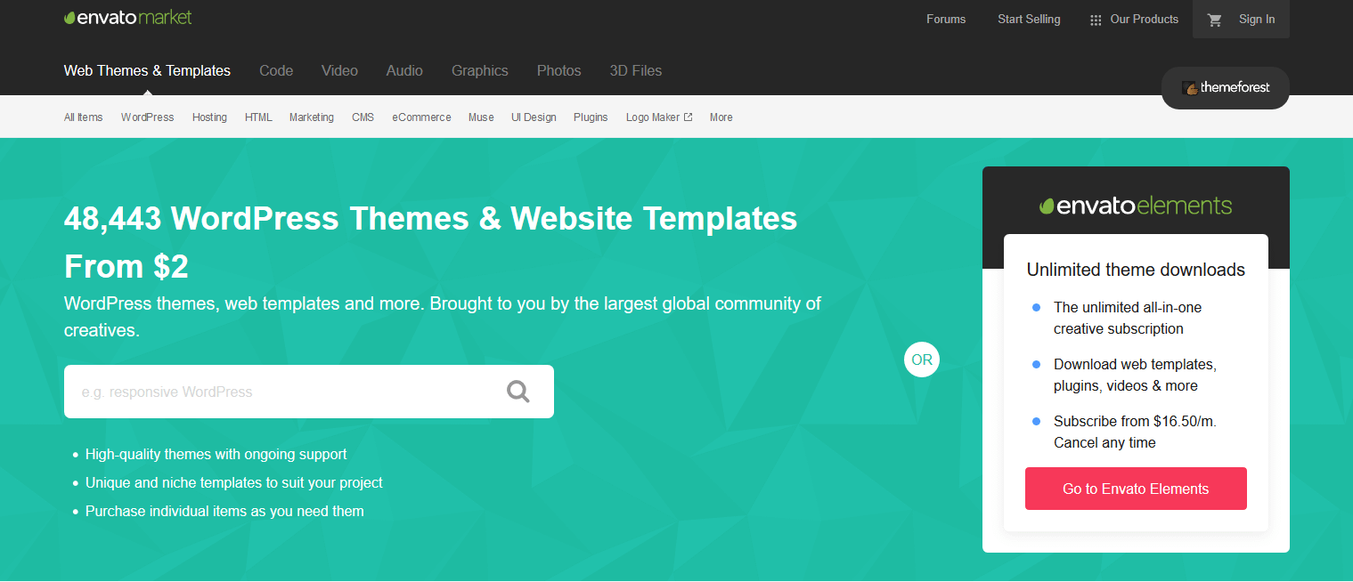 The ThemeForest homepage.