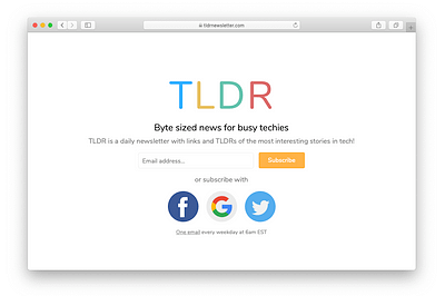 TLDR is a tech newsletter with interesting stories in small portions