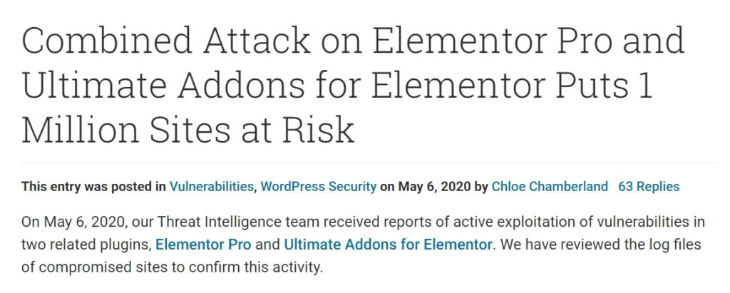 The Elementor Pro attacks in June 2020 WordPress news