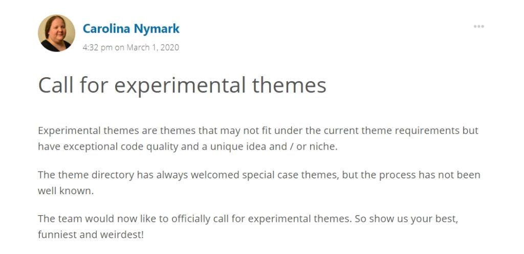 Experimental themes allowed on WordPress.org