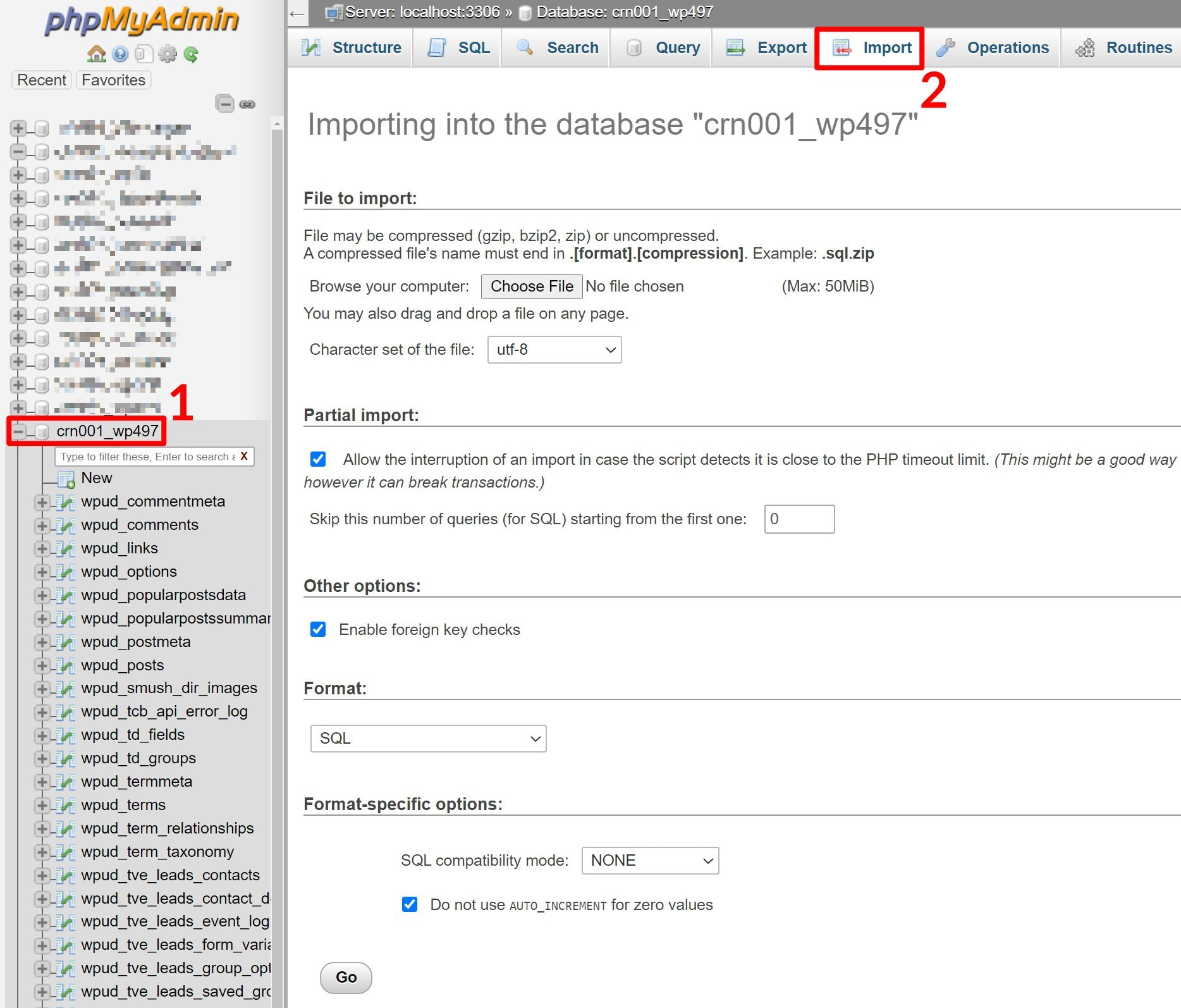 Import MySQL database as part of how to move website to new host