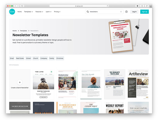 Free email newsletter templates: canva