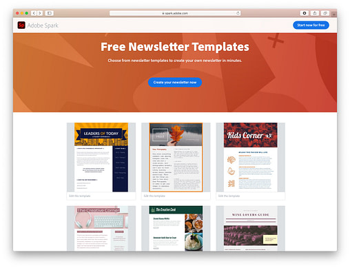 Free email newsletter templates: Adobe Spark