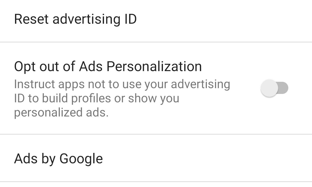 Opting out of ads in apps tracking you