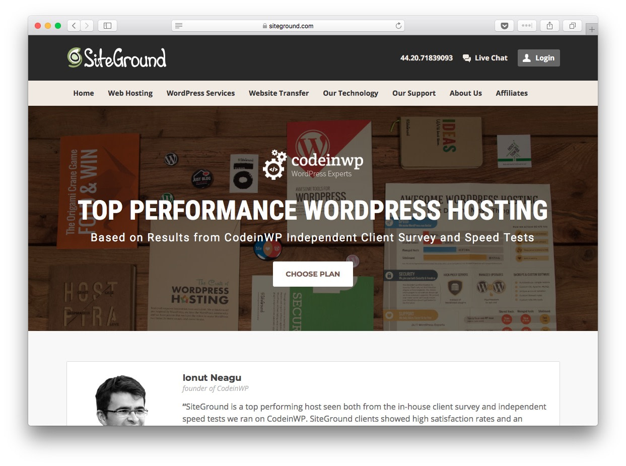 Fastest WordPress hosting: SiteGround