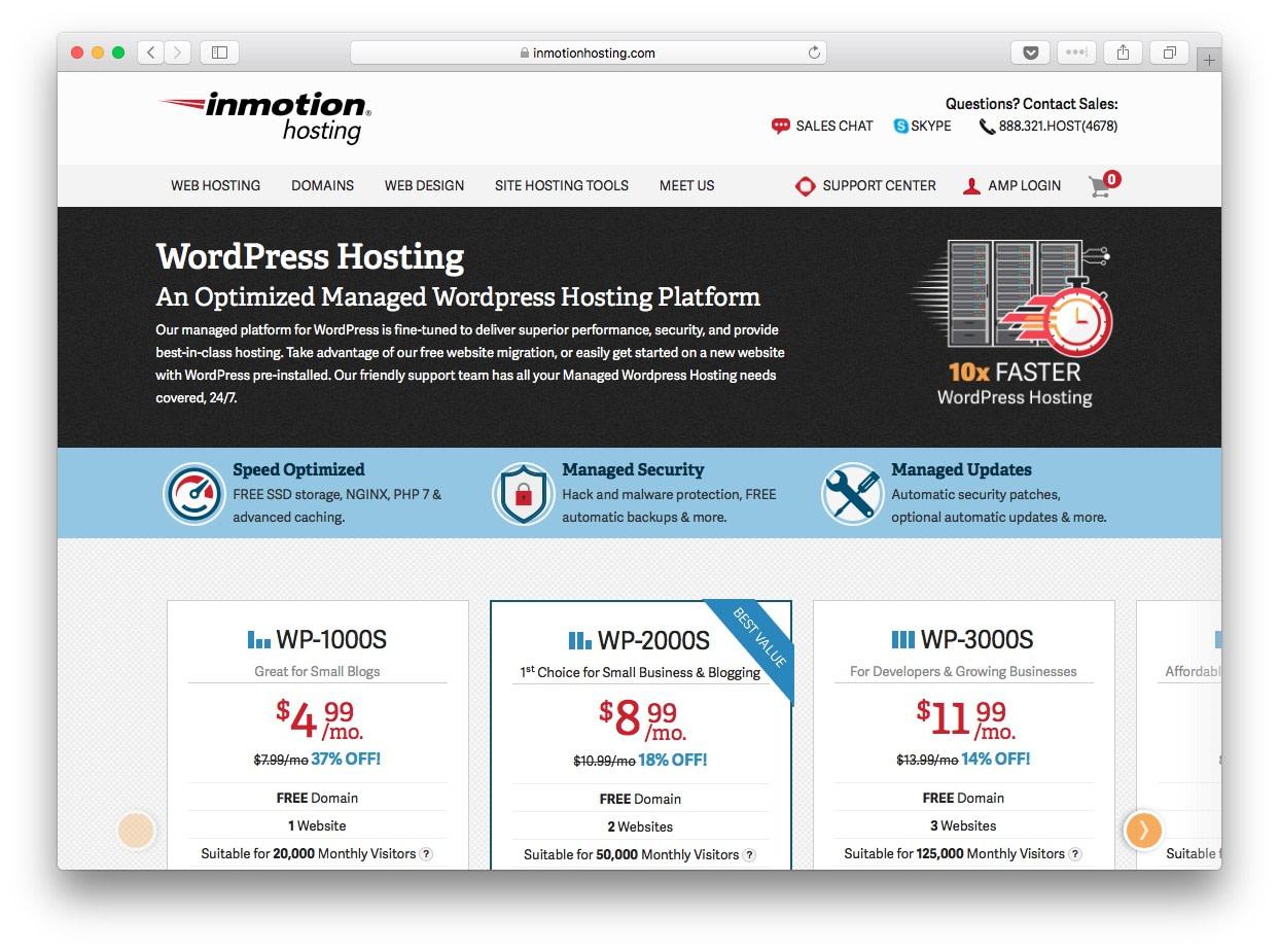 Fastest WordPress hosting: inmotion hosting