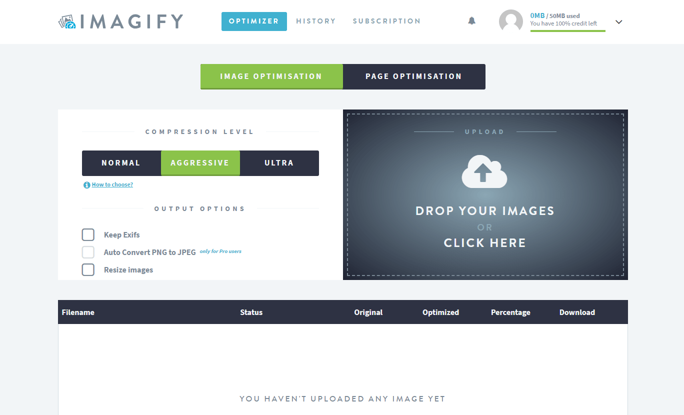 The Imagify account dashboard.