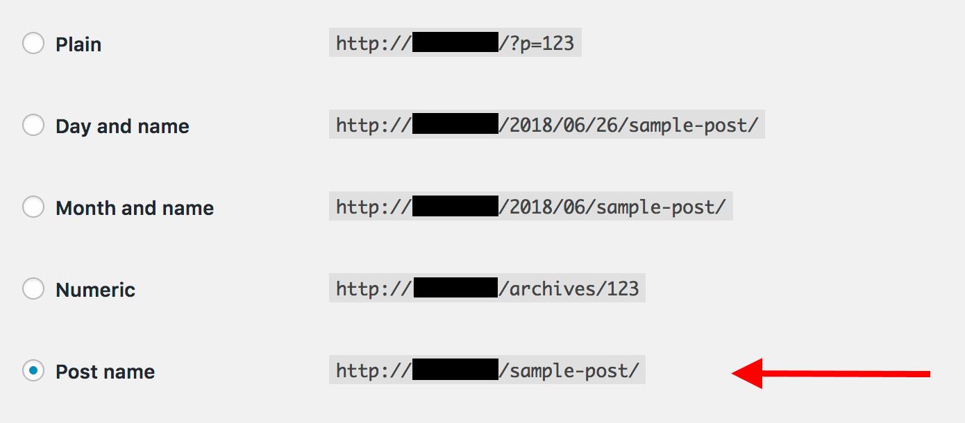 Setting up a blog: post name permalink setting