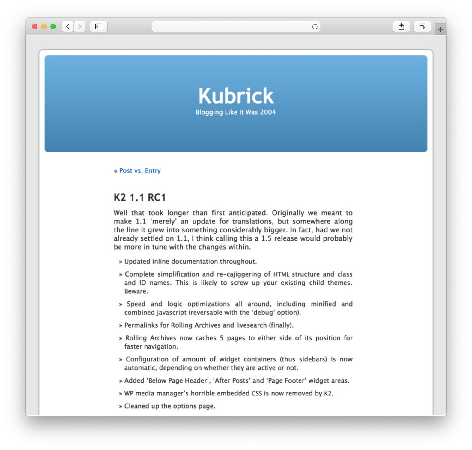 WordPress Theme Kubrick