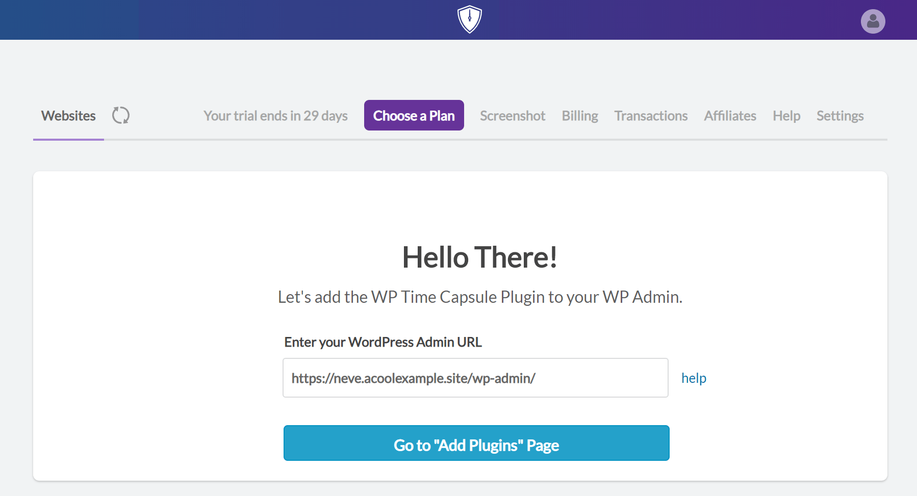 WP Time Capsule sign up