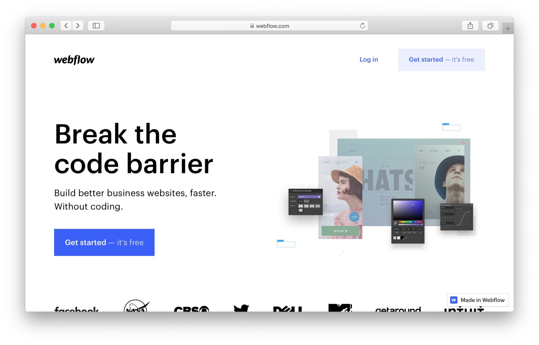 Free website builders: webflow