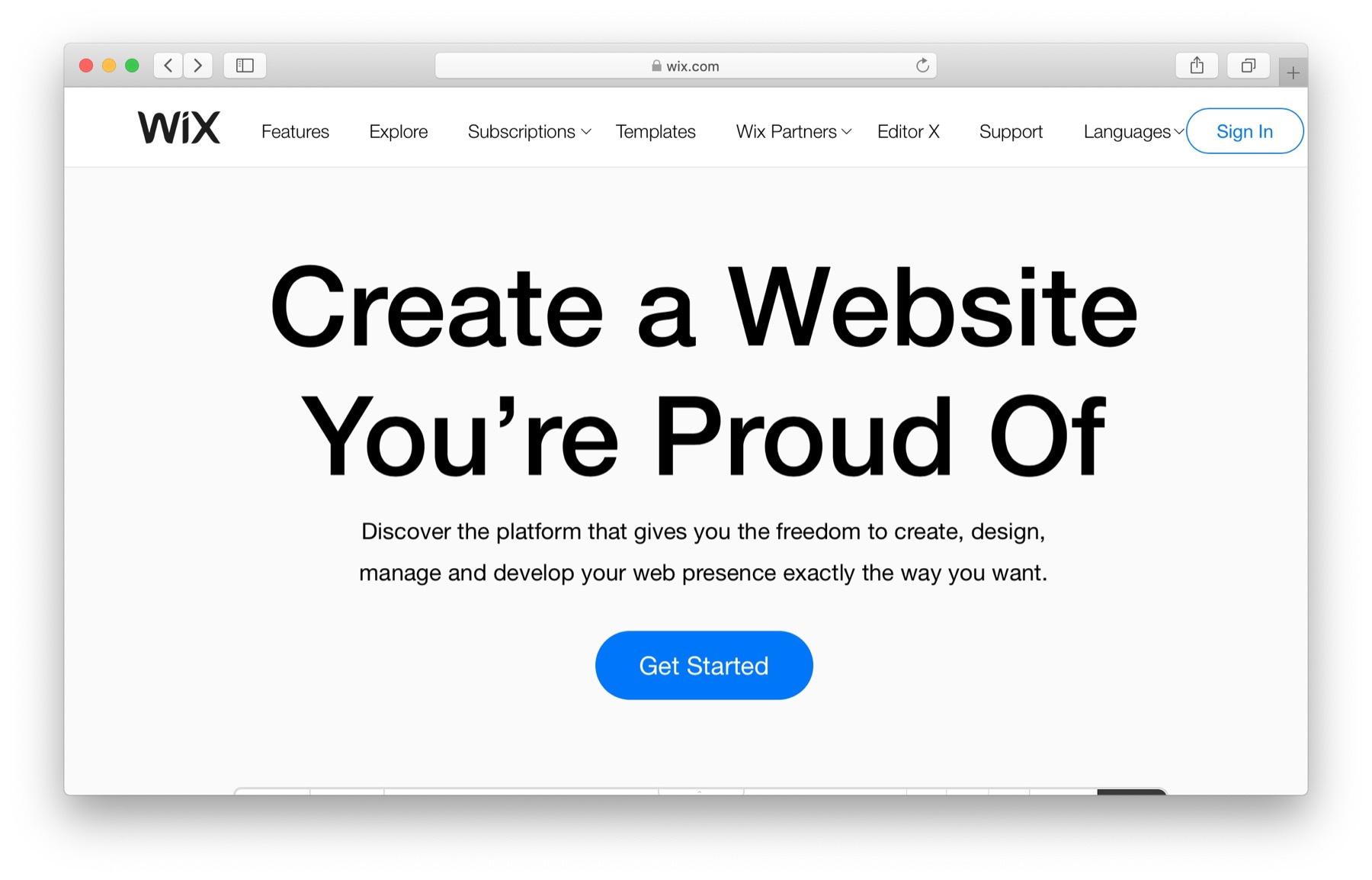 Free website builders: wix