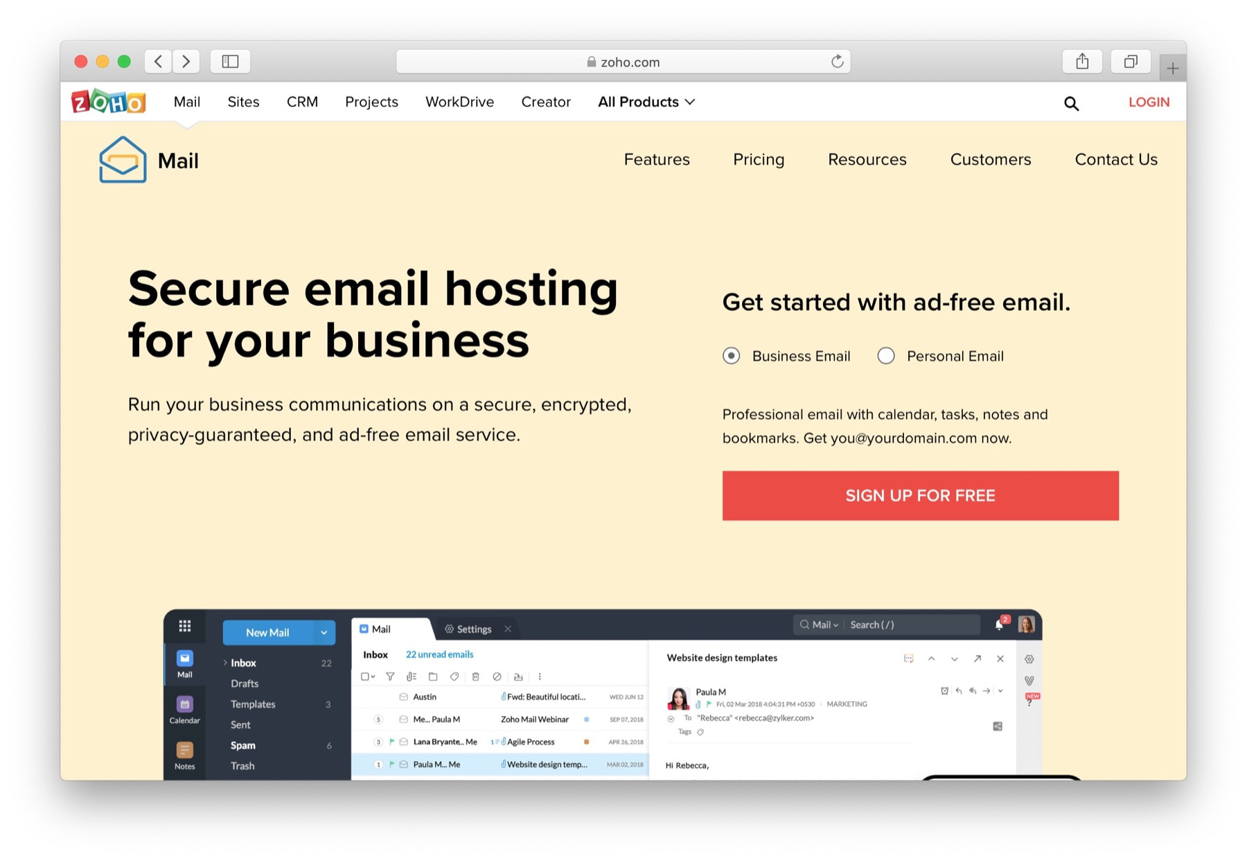 zoho mail - the simplest of the best email hosting providers