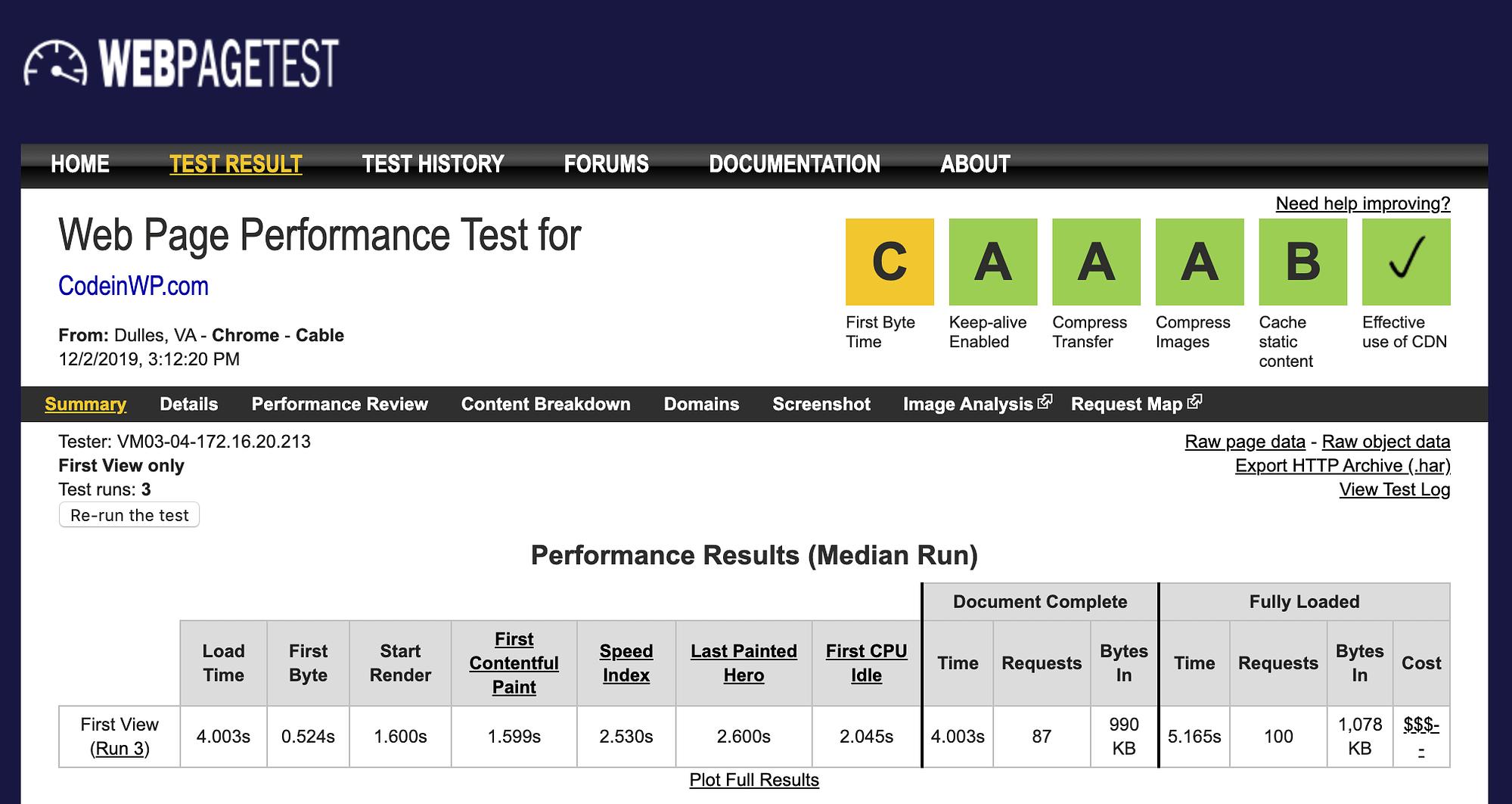 webpagetest test