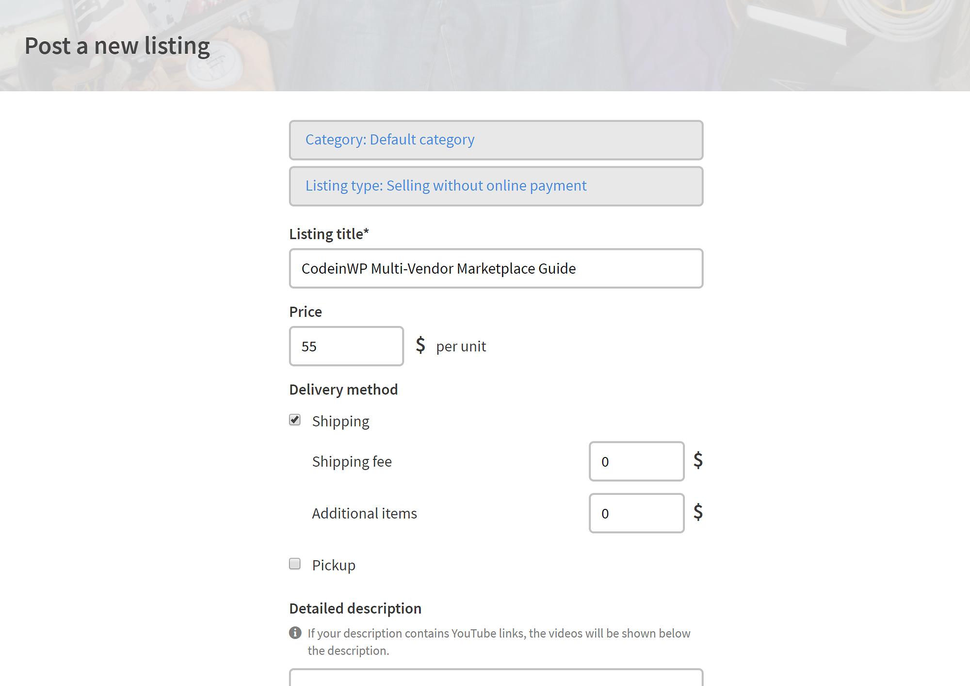 Sharetribe Add New Listing