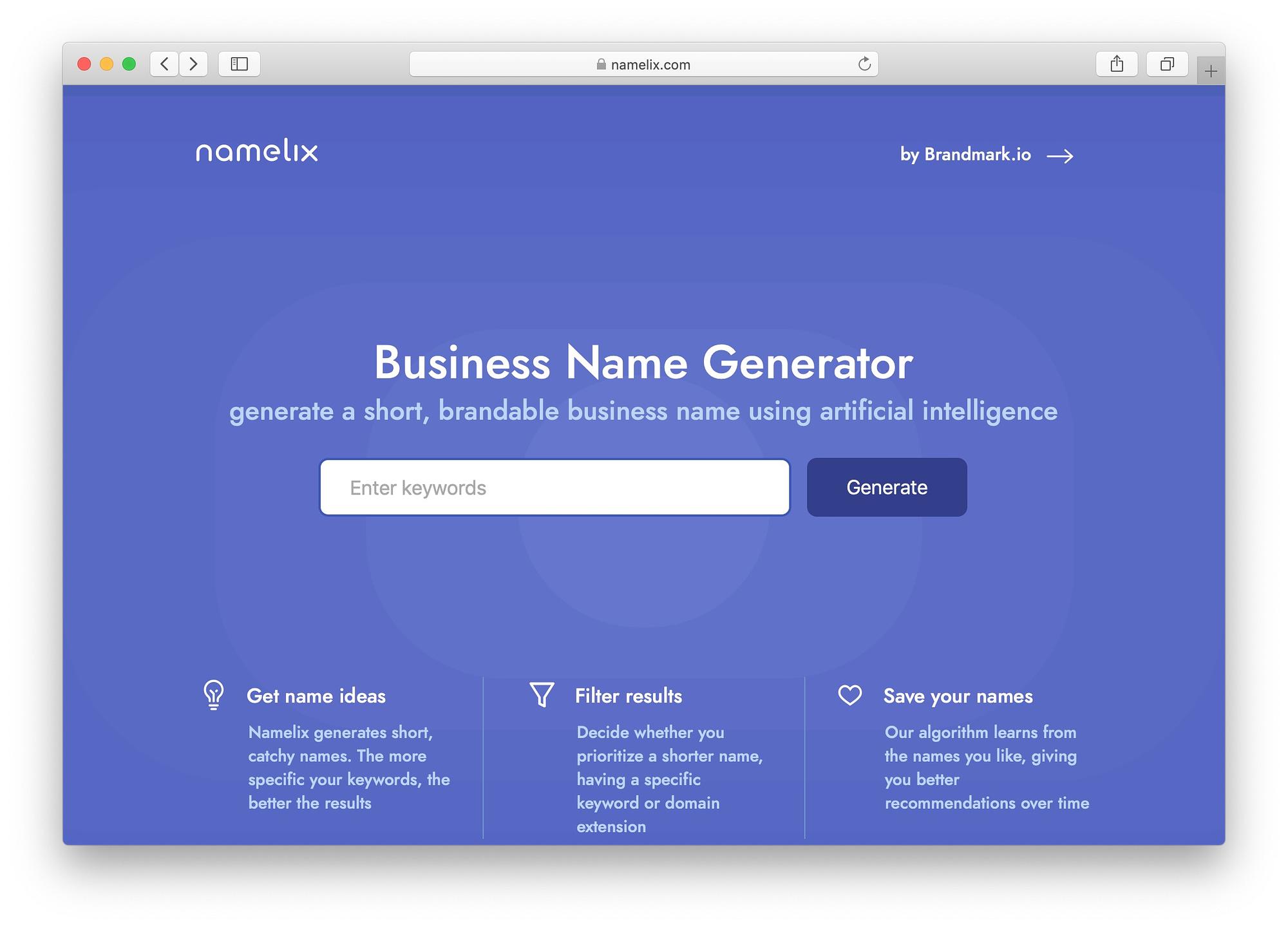 Best free business name generators: Namelix