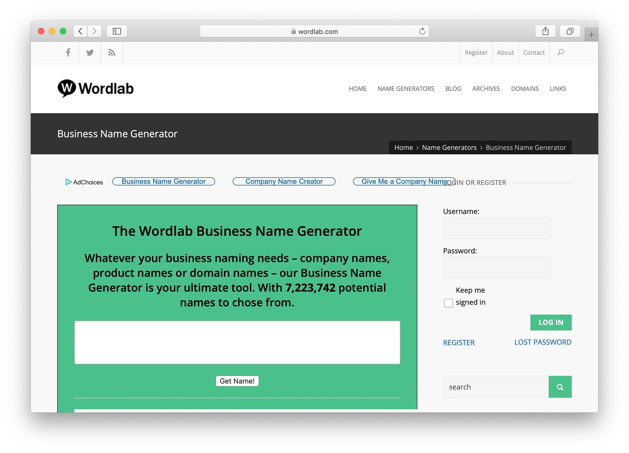 Best free business name generators: WordLab