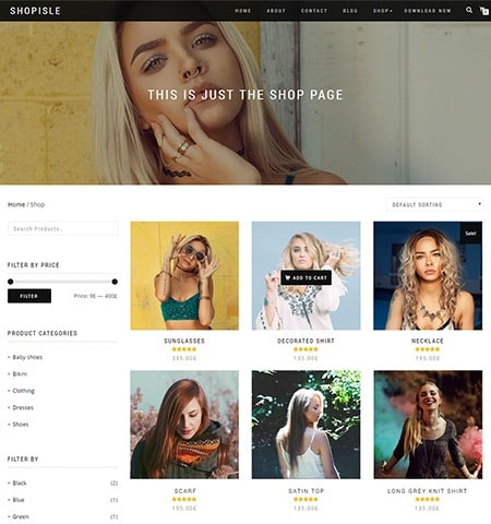 Beste gratis WordPress-thema's # 7: Shop Isle