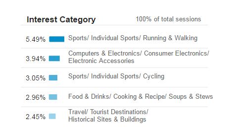 A screenshot of an interests report by Google Analytics.