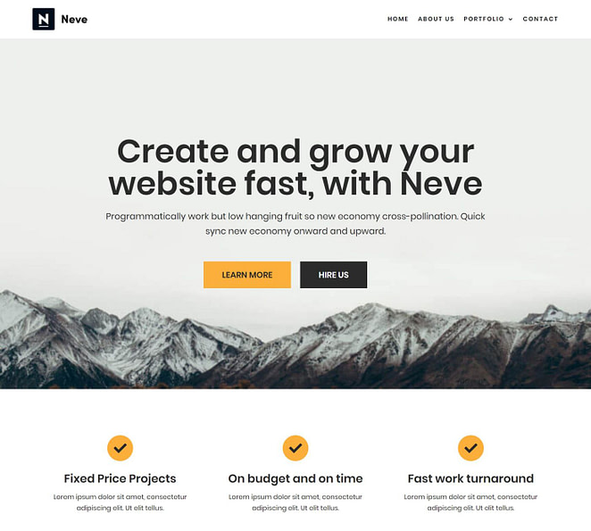 Beste gratis WordPress-thema's # 1: Neve