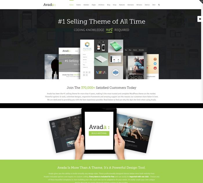 SEO friendly WordPress themes: Avada