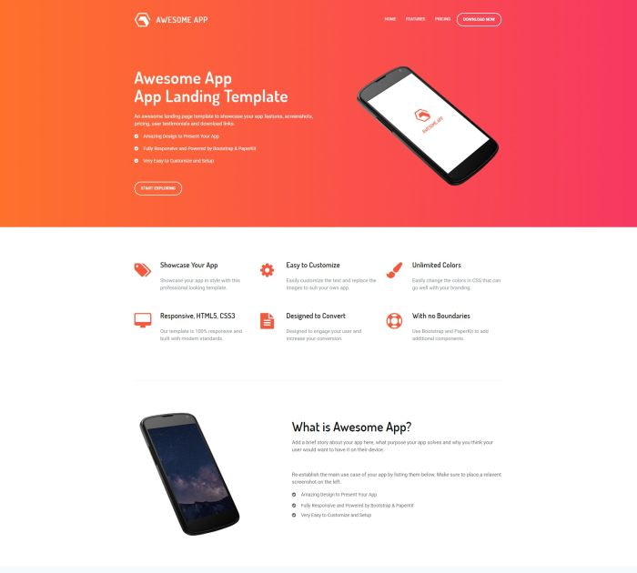 Best Bootstrap 4 templates: Awesome App
