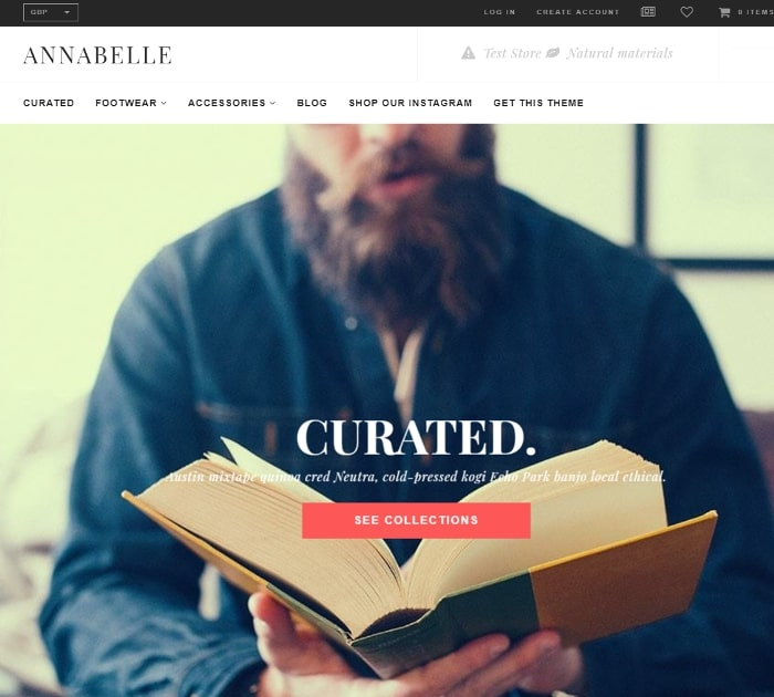 Best Free Shopify Themes: Annabellle