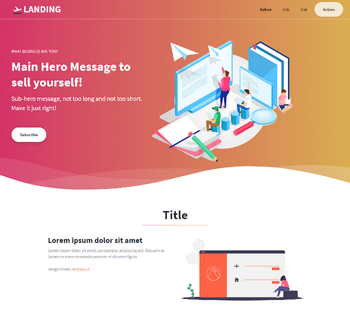 Best Tailwind CSS templates #2: Tailwind Toolbox Landing Page