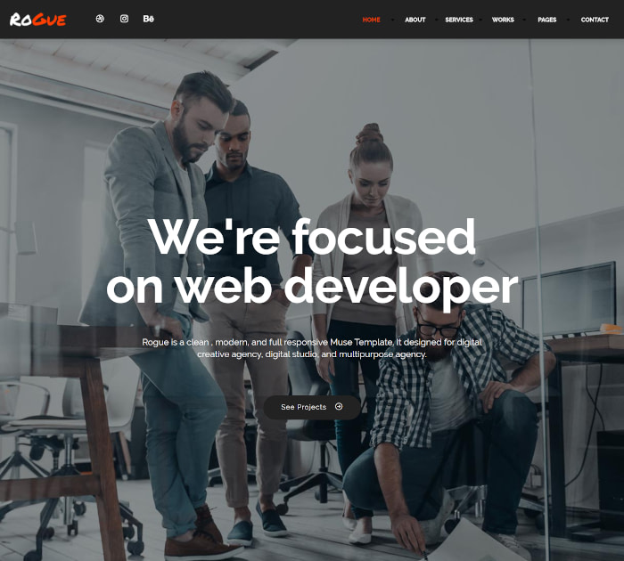 Best Adobe Muse Templates: Rogue