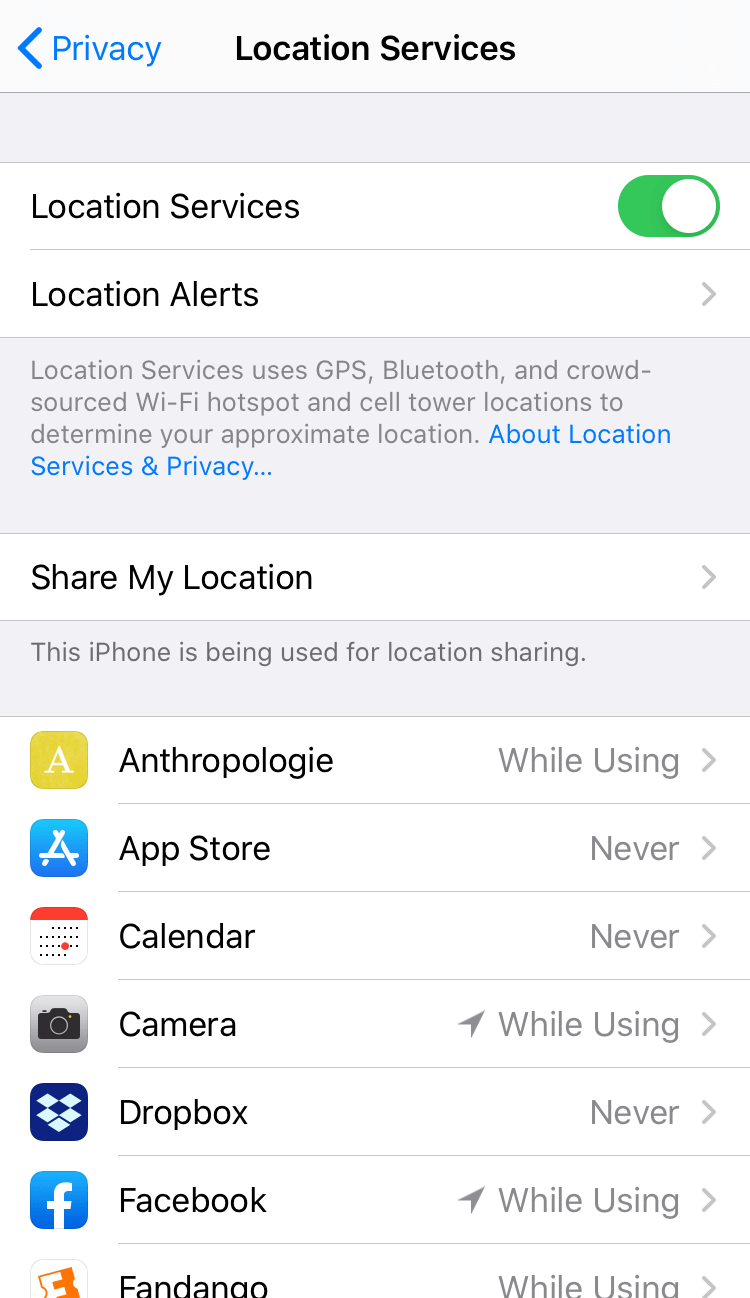 iPhone location services settings