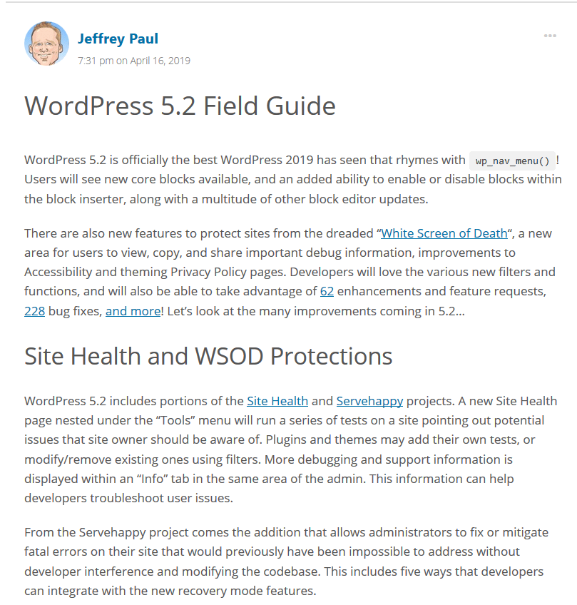 WordPress 5.2 brings some big changes to help users maintain their site